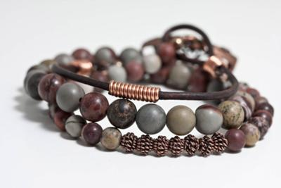 Triple Wrap Jasper Bracelet With Handmade Coils